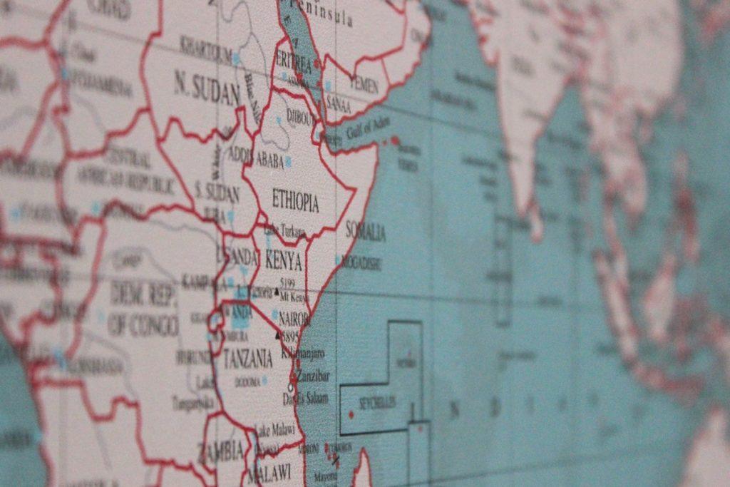 Wereldkaart close-up